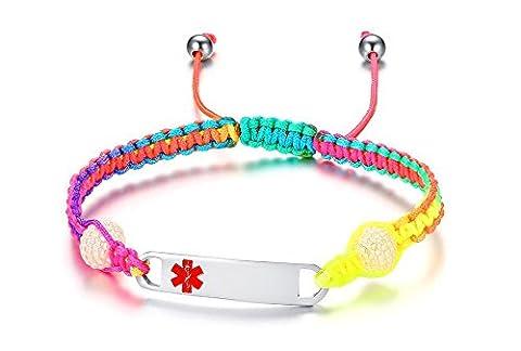 Vnox Free Engraving Kids Women's Medical Alert Bracelet Rainbow Braided Leather Adjuatble Wristband