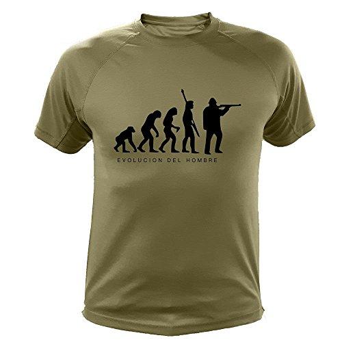 Camiseta de Caza, Evolucion del Hombre - Regalos para Cazadores (30172, Verde, XL)