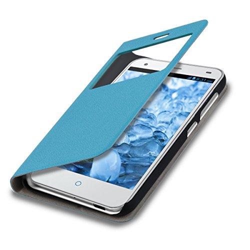 kwmobile Flip Case Hülle für ZTE Blade S6 4G LTE mit Fenster - Aufklappbare Tasche Schutzhülle im Flip Cover Style in Hellblau