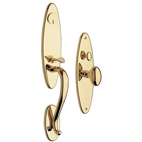 Baldwin 6573.003.ENTR Springfield Single Cylinder Mortise Handleset Trim Set, Lifetime Polished Brass by Baldwin -