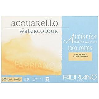Fabriano ATW BL 4CO 25°F Echtbuetten Watercolour Paper Tap Emuehl GF 5x 7-inch, White