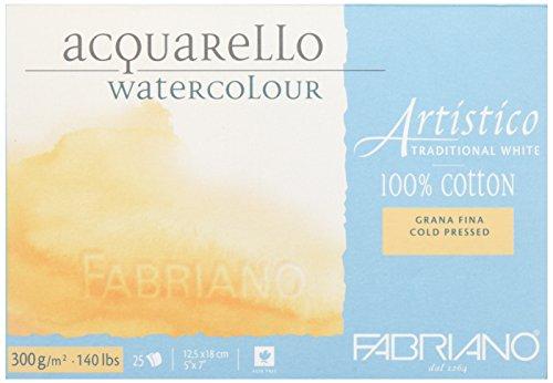Fabriano 30011218 Aquarellpapier Artistico, Block vier seitig geleimt, -