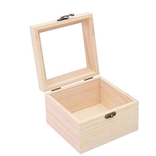 Mogist mini vetro di stoccaggio scatola di legno, scatola regalo per gioielli anello collana e altri piccoli accessori