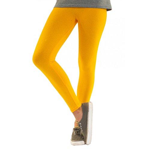 Blickdichte Damen Leggings aus Baumwolle Leggins Knöchellang in schwarz weiß grün grau rot gelb Gelb