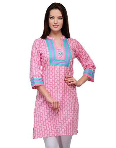 Cenizas Women's Cotton Straight Kurta (KURTIS/2105/PNK/S_PinkS)