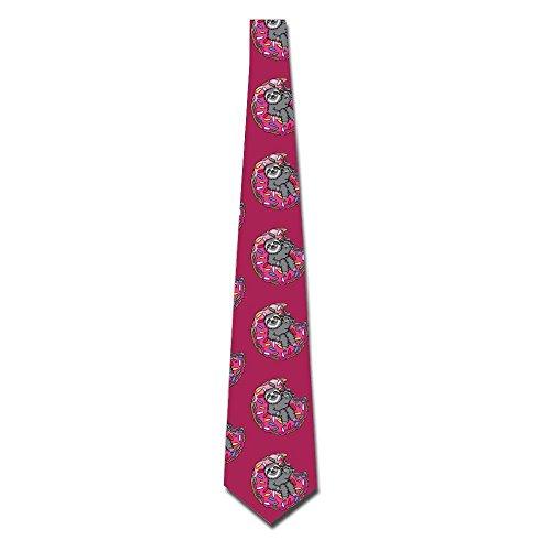 Sloth Donut Classic Men's Tie Necktie,Great For Weddings, Groom, Groomsmen, Missions, Dances, Gifts.