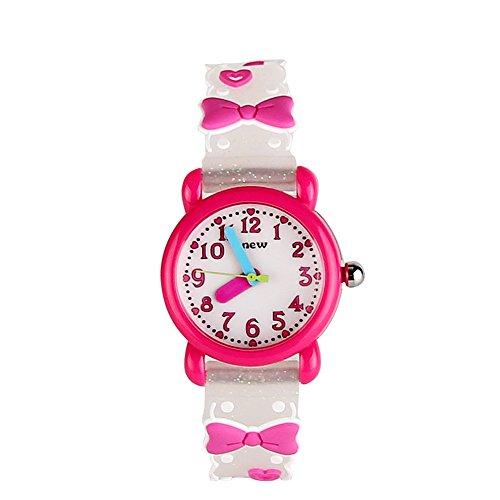 ele Eleoption Kinder Armbanduhr Wasserdicht 3D Cartoon Design runden Zifferblatt Silikon Gummi Kinderuhr Quarz Armbanduhr für kleine Mädchen und Jungen (Weiß- Bowknot)