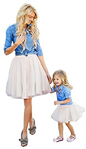 AGOGO Mama und Kind Mädchen Sommer Frühjahr Kleider Familie Collocation Kleid mit Familie Freizeitkleidung Beiläufig Kleider Set (Mädchen:110CM/4 Jahre, Denim T-Shirt Tops + Rock)
