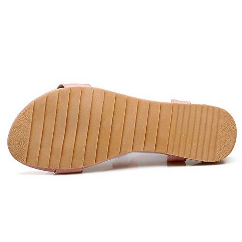 COOLCEPT Damen Mode T-Spangen Sandalen Flach Open Toe Slingback Schuhe Mit Bogen Rosa
