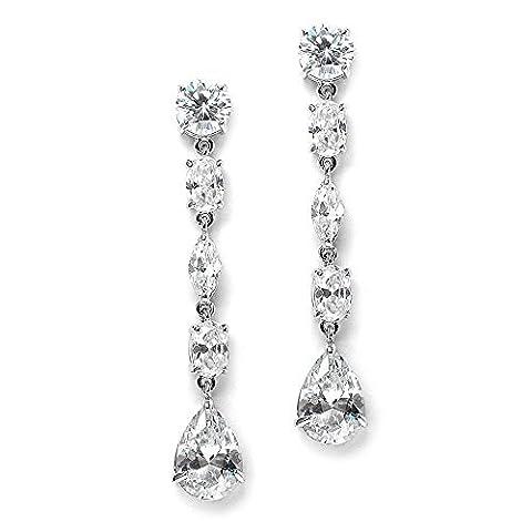 Mariell Magnifique linéaire Mix-shape Oxyde de Zirconium de mariage, bal et les vacances pendantes–Boucles d'Oreilles Plaqué platine