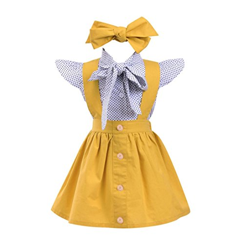 (Party Kleid,bobo4818 3 Stücke Kleinkind Infant Baby Mädchen Dot Print T-shirt + Strap Rock Party Set (110))