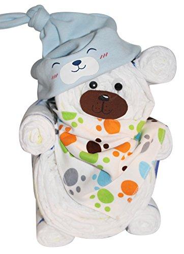 Windelgeschenk / Windeltorte / Windelbär mit Beanie + Dreieckstuch Junge Baby -> Windelgeschenk Junge Niedliche Baby Kleinkind Kinder Hut Kappe Mütze + Schal Warp Set für 0-2 Jahre -> tolles WINDELGESCHENK zur Geburt Junge -> babyshower geschenk (blau Gr. 2)