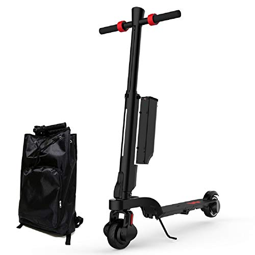 Electronic Scooter Adult, Foldable in Backpack mit Dual-Brakes und Bluetooth Audio und Motor 600 Watt 25km/Max-Black -