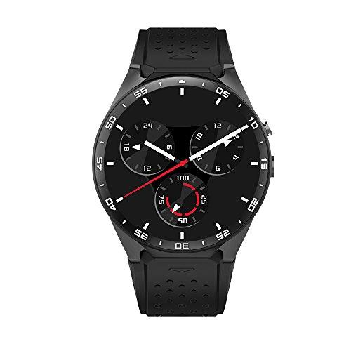 Letech KW88 3G mobile, Smart Watch Phone con GPS WIFI 2.0MP fotocamera Heart Rate Monitor Quad Core 1.39 pollici HD schermo rotonda Bluetooth V4.0 Pedometro multifunzione per Andriod Smartphone Watch (nero)