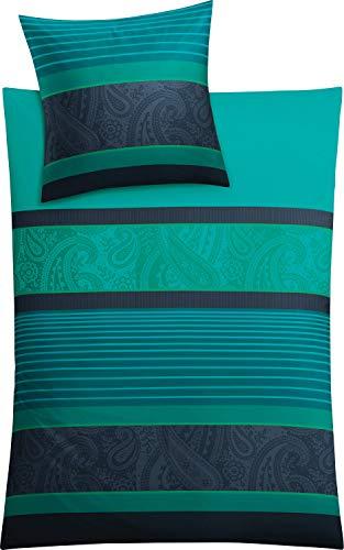 Kleine Wolke Cambridge Bettwäsche, Bettbezug, Baumwolle, Petrol, 135 x 200 cm -