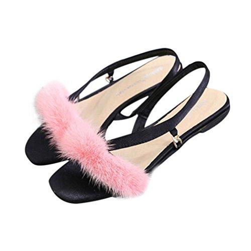 Sandales, Malloom Les Femmes à Faible Talon D'éTé Tassel Avec Des Chaussures De Cheveux Pour Femmes Sandales De Mariage Rose