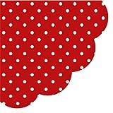 12 Servietten rund Punkte rot / Muster / weiß Ø32cm