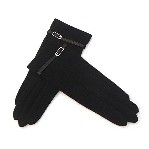 Lawevan 1 paire de femmes style classique avec cachemire gants de ceinture d'hiver gants chauds Noir