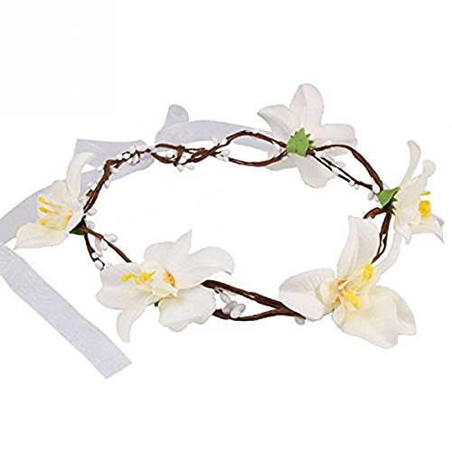 VORCOOL Festival Des Filles de Femmes Mariage Fleur Fête Bandeau Cheveux Garland Coiffure (Blanc)
