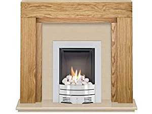 The Beaumont Oak & Marfil Stone with Crystal Diamond Contemporary Gas Fire Brushed Steel, 54 Inch