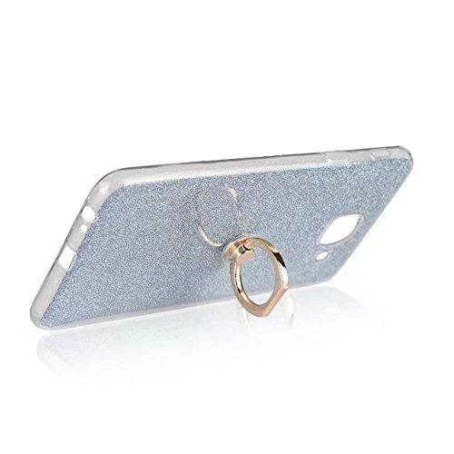 EKINHUI Case Cover Soft Flexible TPU Back Cover Case Shockproof Schutzhülle mit Bling Glitter Sparkles und Kickstand für Samsung Galaxy J7 Max ( Color : Pink ) Blue