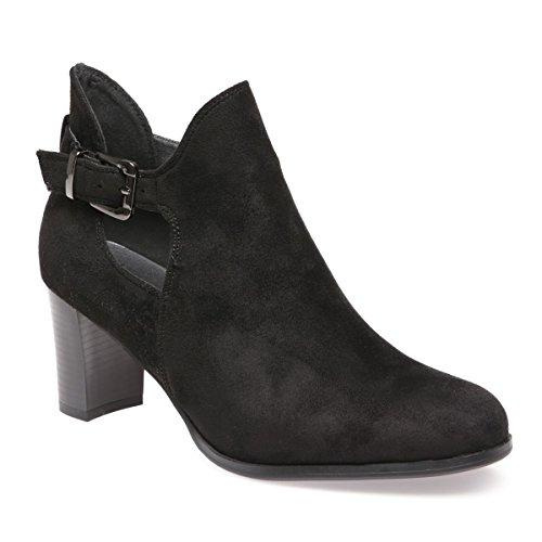 La Modeuse - Low bootsen suédine femme ajourées Noir