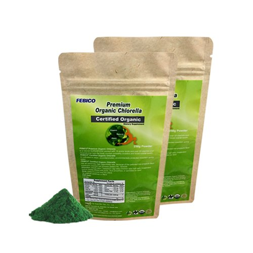 FEBICO-Certifed-Organic-Chlorella-500g-Powder-Broken-Cell-Wall-Powder-Contains-CGF-B12-Set-of-2
