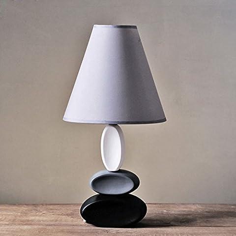 LBC European Style Keramik Lampe Schlafzimmer Wohnzimmer Bedside Lampe Creative Mode Tuch Schatten (Natürliche Aquamarine Kristall)