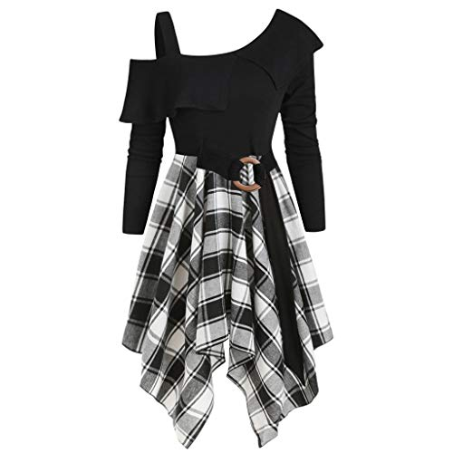 Kostüm 70er Jahre Selbstgemacht - Lazzboy Frauen Plus Size Plaid Skew Neck Belted Taschentuch Kleid Asymmetrisches Lady A-line Pencil Cold Collar Gitterkleid(Weiß,XL)