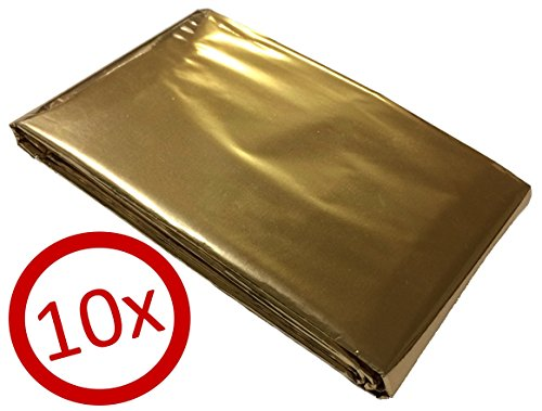 10 Rettungsdecken, Goldfolie 160 x 210 cm Silber/Gold - GRATIS Lieferung innerhalb Deutschlands