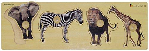 Doron Layeled Giant peg Puzzle in Legno-Animali Selvatici