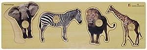 Doron Layeled Gigante Peg Puzzle de Madera-Animales Salvajes
