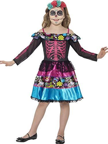 Luxuspiraten - Mädchen Kinder Kostüm Tag der Toten Skelett Kleid mit Kopfschmuck, Day of The Dead Dress with Headpiece, perfekt für Halloween Karneval und Fasching, 104-116, Schwarz