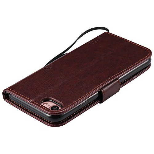 Coque iPhone 8, iPhone 7 Coque, Voguecase Coque de Protection en PU Cuir Support Flip Housse Étui Cover Case avec Porte-Cartes pour Apple iPhone 7/iPhone 8 4.7 (Arbre-Rouge Marron) + Gratuit Stylet à  Arbre-Marron