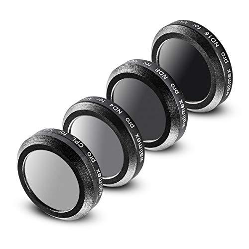 Walimex Pro Drohnenfilter Set DJI Mavic 2 Zoom - Filter Polfilter CPL, Graufilter ND 4, ND 8, ND 16, ideal für Landschaftsaufnahmen, optisches Glas, wasserdichter Aluminiumrahmen, schwarz