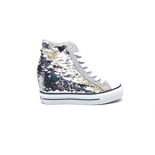 CAFÈ NOIR Sneaker donna running tipo all stars pailletes P/E 2016 cod. DG902 (39, ARGENTO)