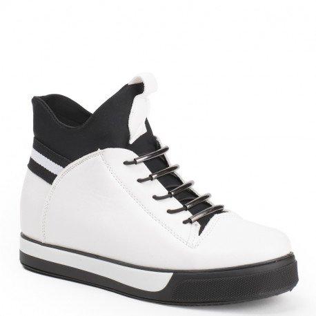 Ideal Shoes - Baskets en similicuir avec languette en néoprène Nihala Blanc