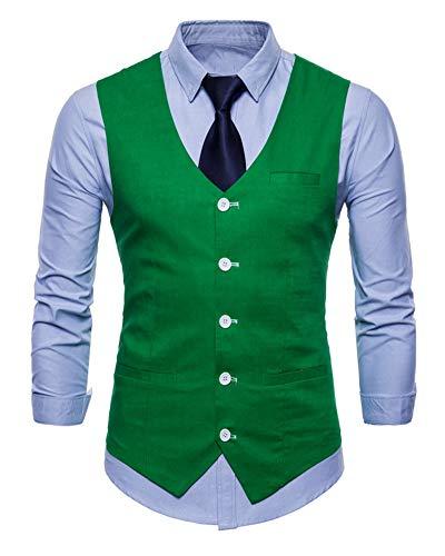 Gilet de Costume pour Homme Simple Boutonnage Casual Mariage Business Veste sans Manche Vert Herbe M