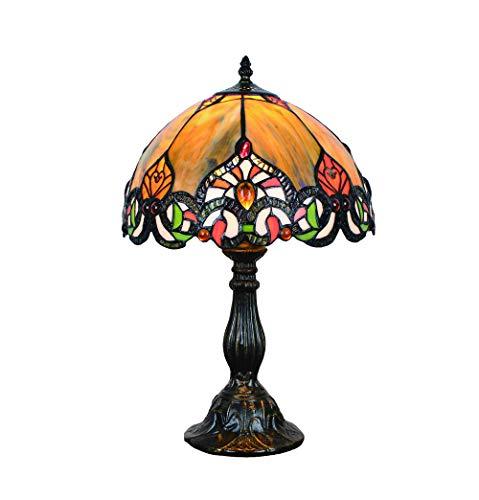 Vintage Tiffany Tischlampen Gelb 50 Hoch, Tiffany Tischlampe Antik Original, Glasmalerei Lampen Schlafzimmer Nacht Lampenschirme Wohnzimmer von FBOSS -