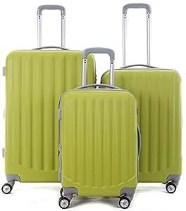 Zwillingsrollen 3tlg. Kofferset hartschale Trolley Koffer Reisekoffer in 10 Farben Modell 2033 (Set, Grün)
