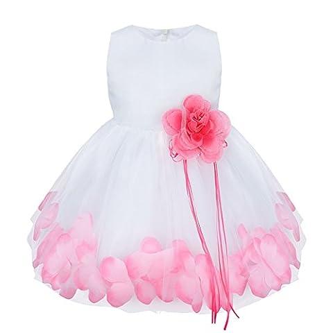 TiaoBug Baby Girls Formal Party Dress Flower Petals Tulle Wedding Dress Pink 12-18 Months