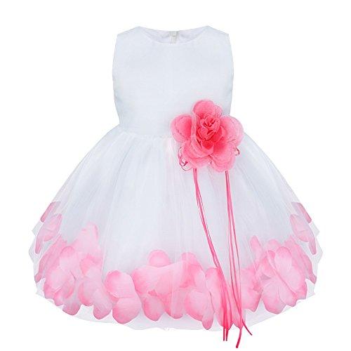 Freebily Baby Mdchen Kleid Bluemen Kleider Festlichkeit Hochzeit Festzug Kleidung Sommerkleid Abendkleid in Gr. 62-92., Rosa, 74-80 (Blumen-kleid Rosa Hübsche)
