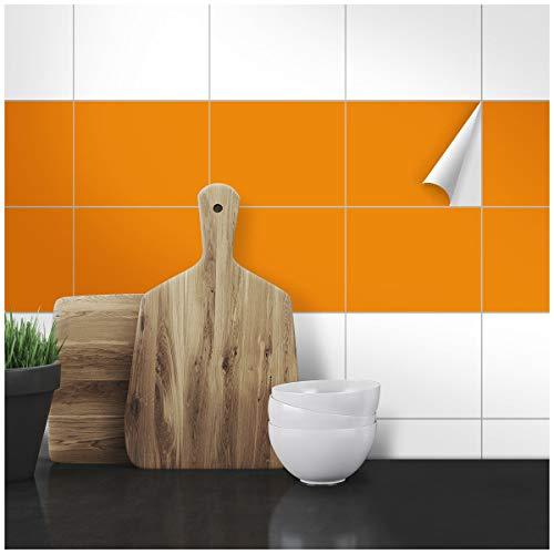 Wandkings Fliesenaufkleber - Wähle eine Farbe & Größe - Orange Seidenmatt - 15 x 20 cm - 20 Stück für Fliesen in Küche, Bad & mehr