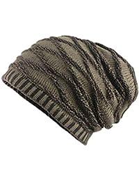 QUICKLYLY Gorros Tejidos Unisex Hombres Mujeres Invierno Cálido Sombrero de  Punto Al Aire Libre de Felpa Engrosamiento Gorro de… 9b94fe49f68