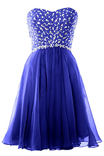 MACloth Women Strapless Crystals Chiffon Short Prom Dress Cocktail Formal Gown Royal Blue