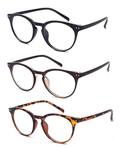 ALWAYSUV Lesebrillen Vintage inspiriert Lesehilfe kleine Nägel Runde 3 Pack Federscharniere Rahmen Sehhilfe Schwarz Braun und Leopard 2.00