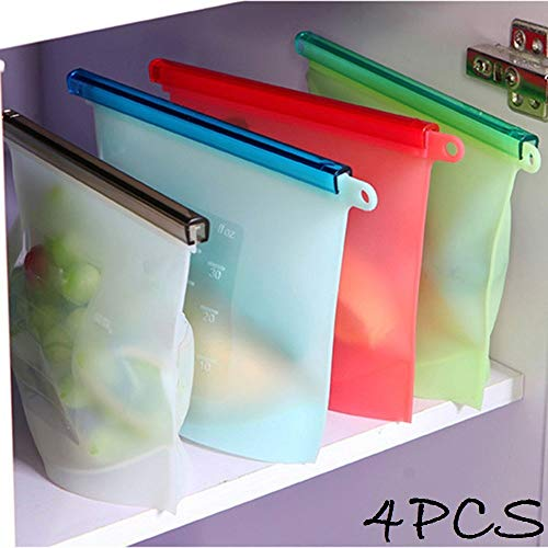 Lukzer 4 PCs Reusable Washable Leakproof Silicone Food Storage Bags/Food Preservation Bag Airtight Seal (Multicolor)