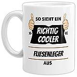 Tassendruck Berufe-Tasse so Sieht Ein Richtig Cooler Fliesenleger aus Weiss/Job / mit Spruch/Kollegen / Arbeit/Geschenk-Idee/Büro
