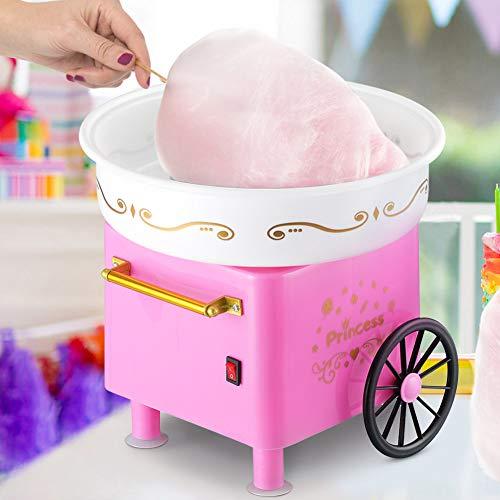 Macchina Zucchero Filato Acciaio e Alluminio Potenza 550W Design Carretto Vintage per Feste Party Bambini (Rosa)