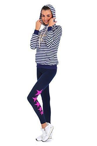 futuro fashion coton épais Leggings longueur maxi matière élastique impriméétoiles régulier taille actif pantalon tailles 8-22 LG Bleu Marine